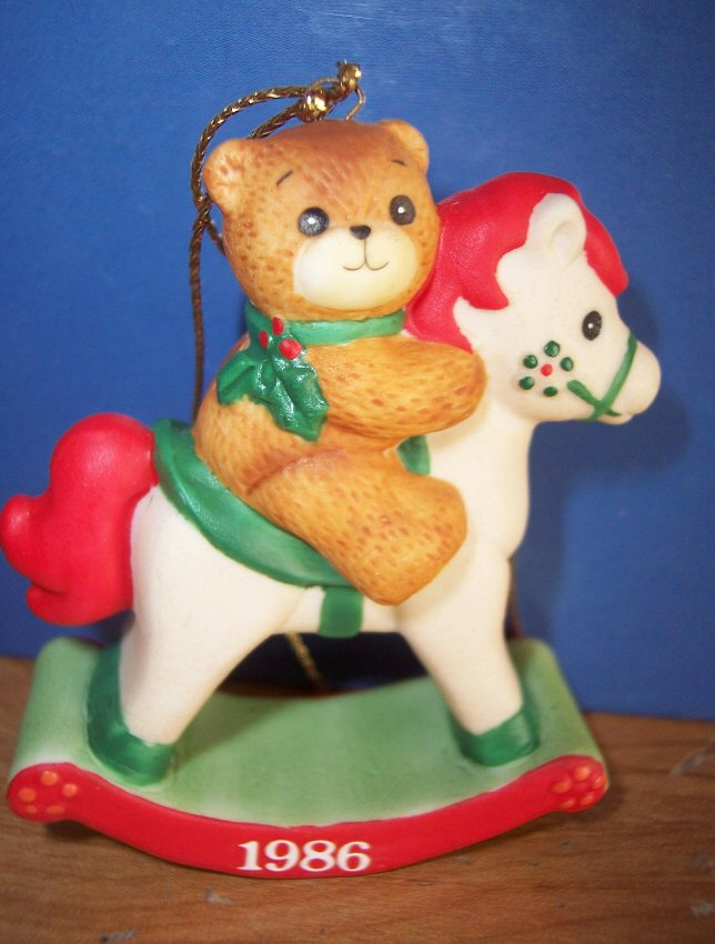 1986 bear on rocking horse ornament