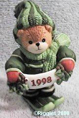1998 Skiing bear in green C12-3-5 Box 11