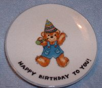 Happy Birthday to You boy with horn mini plate 1979