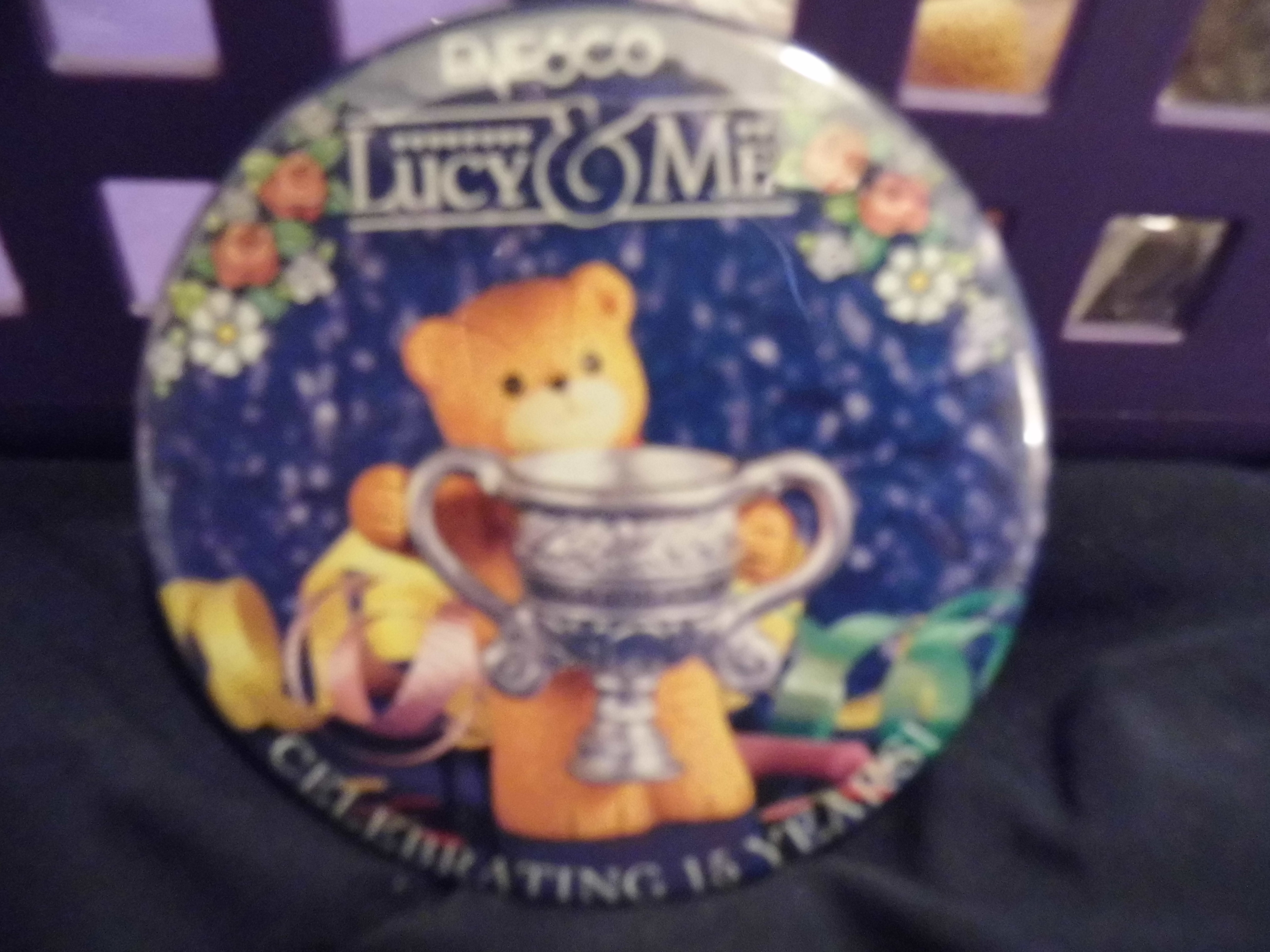 Lucy & Me bear with Loving Cup Advertising Pin