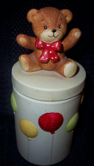 Bear with balloons trinket jar
