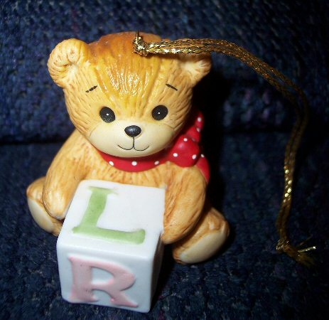 Bear with baby block ornament H1-1-7