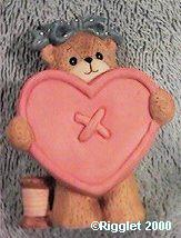 Bear as pink heart button G34-1-2 ^^^in box 6 ^^^