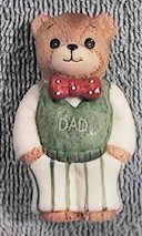 Dad bear in green vest and red bowtie C2-1-1 ***