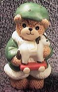 Elf bear holding toy horse C5-3-7 and in box 11