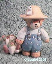 Farmer bear with wagon of flowers G15-4-6 ^^^in box 2, 9^^^