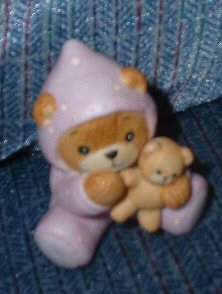 Baby girl bear in pink sleeper with teddy bear G8-1-4 ***