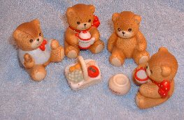 6 piece set Bears having a Picnic G5-3-3 in box