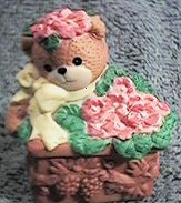 Bear in pink flower box G28-4-1 ^^^in box 6^^^