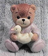 Baby bear in purple sitting holding duck G6-3-4 *** ^^^box 2^^^