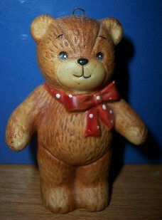 Red bow bear standing ornament H1-1-4
