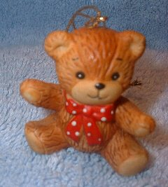 Red bow bear sitting ornament H1-1-5