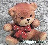 Red bow bear sitting one paw up G1-1-3 ***