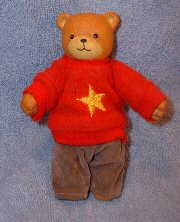 5 inch bear doll in red star shirt